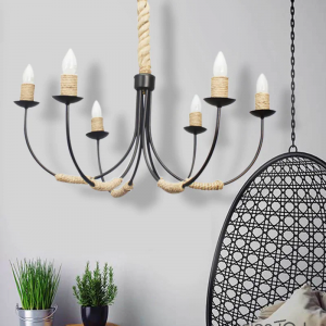 Black Steel and Rope Chandelier by Montage